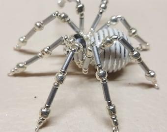 Steampunk Crystalline White/Silver Striped Ice Spider