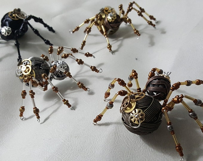 Steampunk Metal Beaded Spider w/Gears