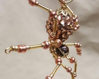 Steampunk/Christmas Golden Jeweled Beaded Spider