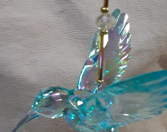 Gold Themed Crystal Hummingbird Sun Catcher in 7 Different Colors