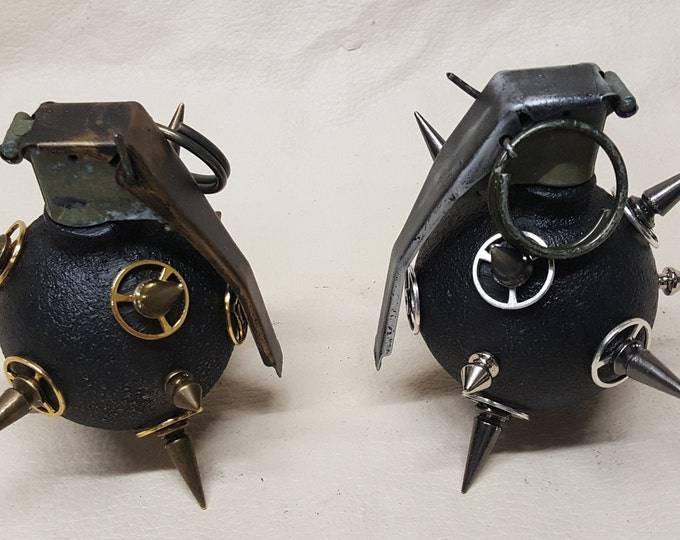 Black Spiked Steampunk Baseball Grenade