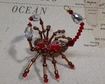 Steampunk Beaded Crystalline Red Scorpion