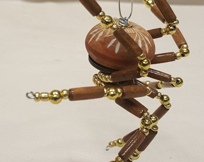 Extra Large Steampunk Wood and Ceramic Beaded Barn Spider