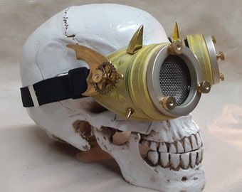 Steampunk Engineer Yellow Bat Wing Goggles