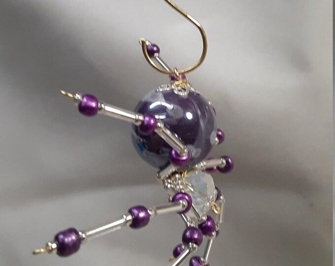 Steampunk Beaded Purple Spider