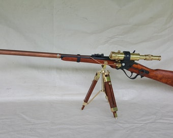 Steampunk Lever Action 1859 Sharps Carbine Sniper Ether Rifle W/Scope and Display Tripod