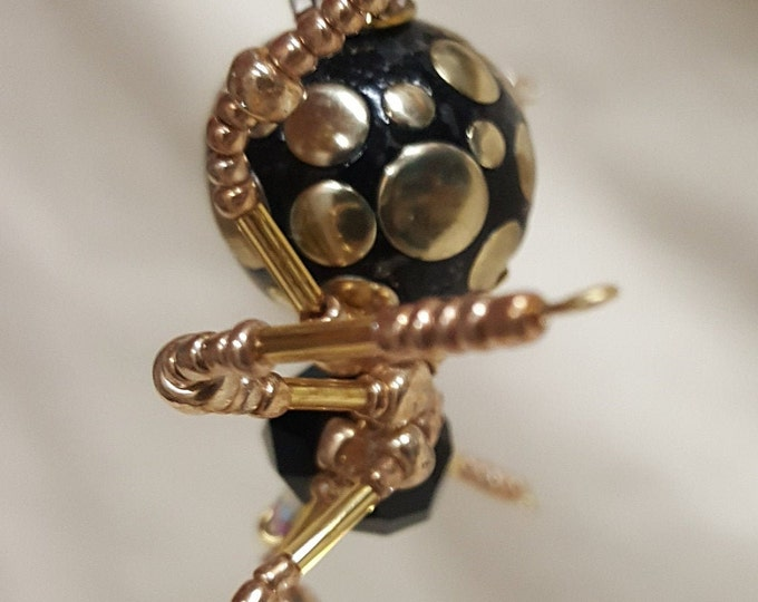 Steampunk Black /Gold Splotched Beaded Spider