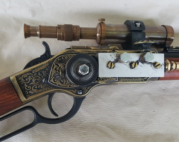 Steampunk 1873 Lever Action Winchester Rifle W/Scope
