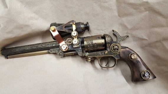 steampunk 1851 colt navy revolver w scope 2 etsy