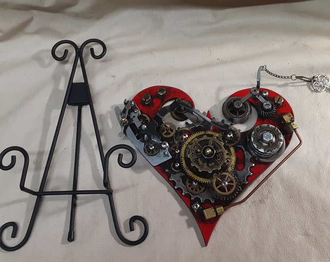 Steampunk Geared Heart With Display Easel