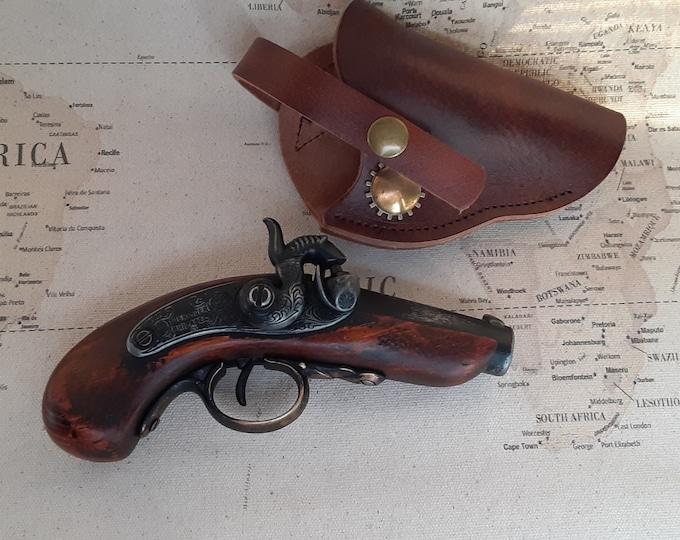 Steampunk Style 18th Century Aged Non Firing Philadelphia Derringer Flintlock W/Optional Holster