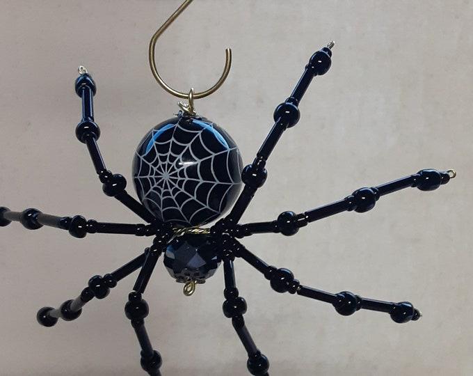 Steampunk Beaded Black Web Halloween Spider