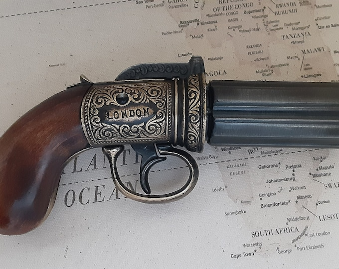 Steampunk Style 1840 Aged Non Firing British Pepperbox