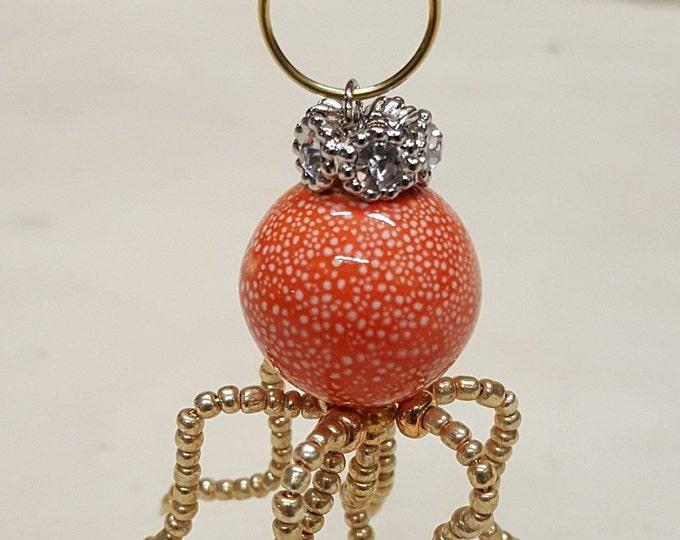 Orange Crowned Speckled Steampunk Beaded Octopus