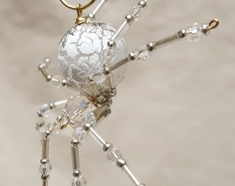 Steampunk/Christmas Dew Drop Frosted Crystalline Snow Spider