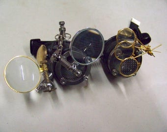 Steampunk Engineer Goggles with Large Magnifiers x2