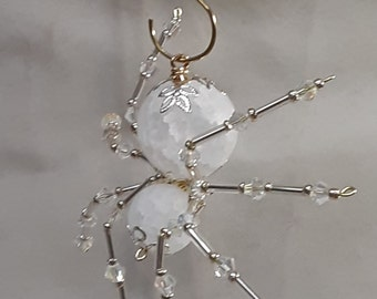 Steampunk/Christmas Dew Drop Frosted Crystalline Ice Spider