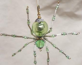 Steampunk/Christmas Crystalline Green Dew Drop Translucent Ice Spider