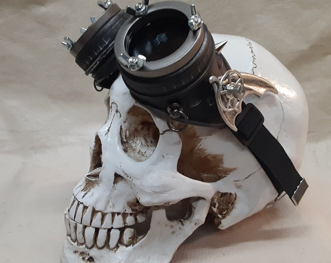 Steampunk Engineer Black Bat Wing Goggles