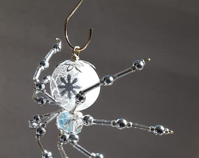 Silver Themed Christmas Frosted Crystalline Snowflake Spider