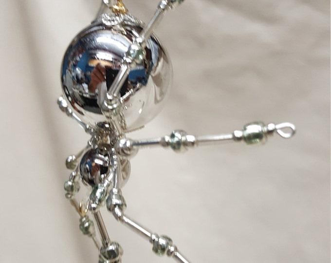Metallic Christmas Beaded Silver Spider