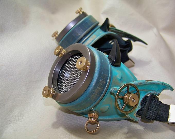 Steampunk Engineer Brass Patina Goggles- Demon Spawn