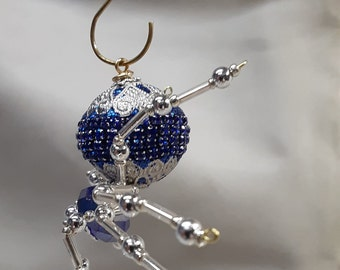 Steampunk Beaded Blue and Silver Christmas Spider