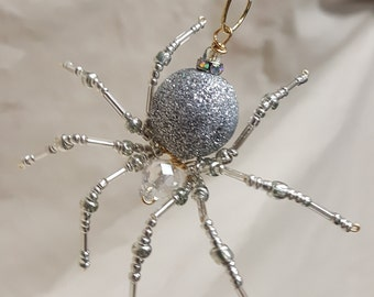 Steampunk Beaded Silver Christmas Spider
