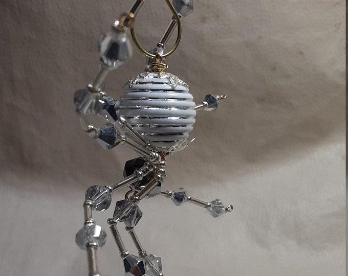 Steampunk/Christmas Crystalline White/Silver Striped Ice Spider