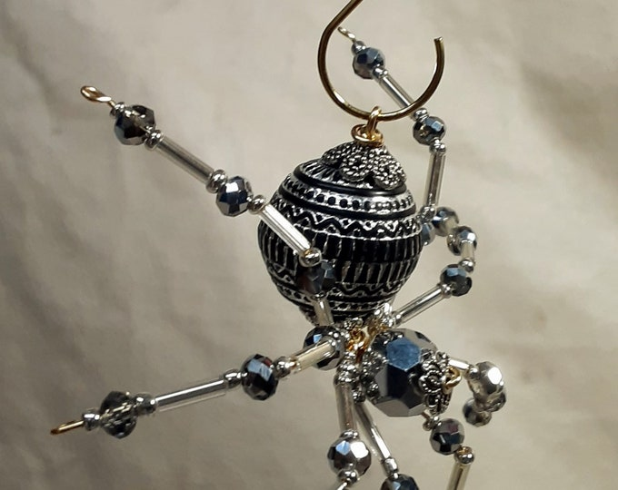 Christmas Silver and Black Beaded Spider