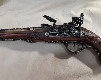 Steampunk Style 1806 Aged Napoleonic Double Barrel Non Firing Flintlock