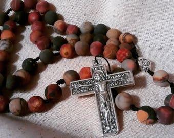Unpolished Jasper Rosary w/ Renaissance Crucifix and medal