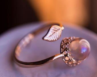 Angel Aura Quartz Crystal Ball Leaf/Crown Ring- Rose Gold- Adjustable