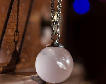 Rose Quartz Crystal Ball Necklace- 16mm