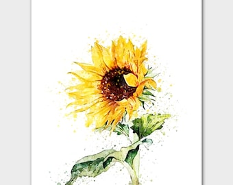Sunflower painting etsy watercolor flowers spring flowers hand drawn flowers sunflower decor sunflower painting yellow sunflowers sunflower print yallow art mightylinksfo