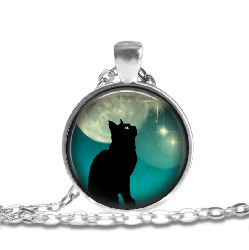 Necklace Jewelry Art Pendant in SILVER BEZEL with Link Chain Included Cosmo257 Black Cat on Teal Moonlit Skies