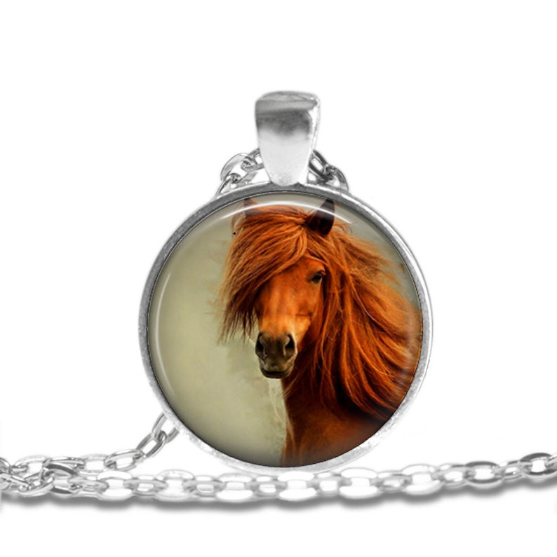 HORSE Necklace Jewelry Art Pendant in SILVER BEZEL with Link Chain Included Cosmo231
