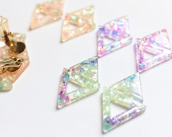 Limited // Crashed Shell Earrings, Triangle Earrings, Translucent Earrings, Soft Pink, Glitter Earrings, Holographic Earrings