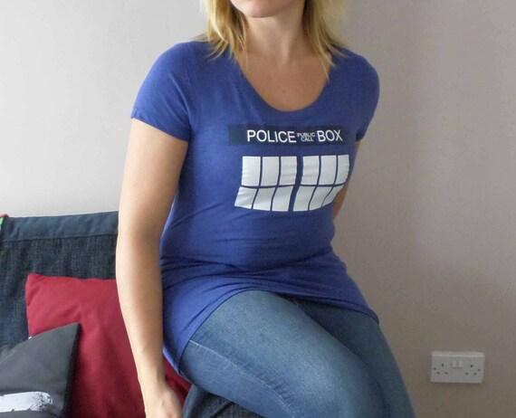 Women's Lightweight TARDIS Police box Blue T-shirt