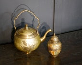 A Brass Cloisonne Floral Decorated Tea-Pot and Tea Caddy or Suger Holder