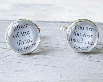 Wedding Cufflinks, Groom Cufflinks, Father of the Bride, Personalised Cufflinks, Custom Cufflinks, Gift for Him, Personalised Gift, Wedding
