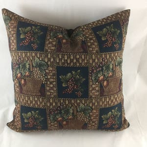 Tapestry weave floor cushion cover with basket of fruit motif plain brown back