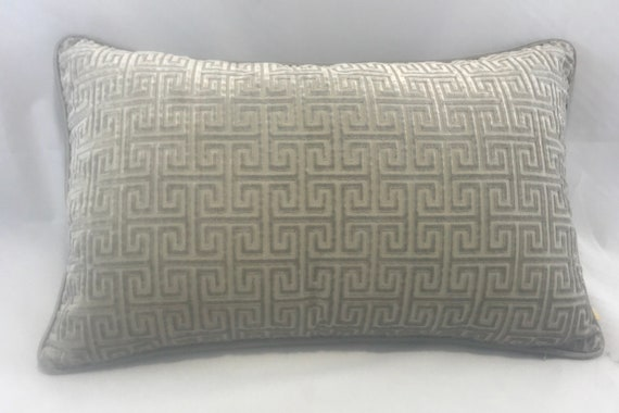 Taupe Velvet Piped Cushion With Gold Embroidered Palm Trees