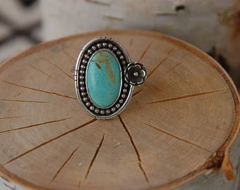 No. 8 Mine Turquoise Flower Ring