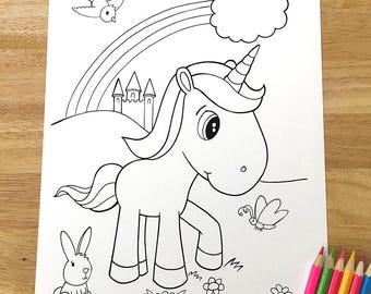 Cute Unicorn Coloring Page Downloadable PDF File