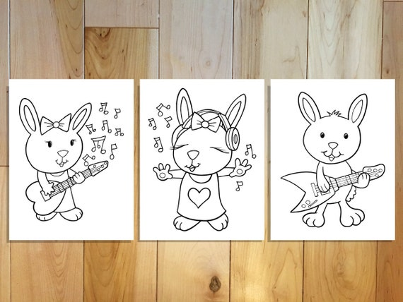 Cute Music Easter Bunny Rabbit Coloring Page Set Downloadable