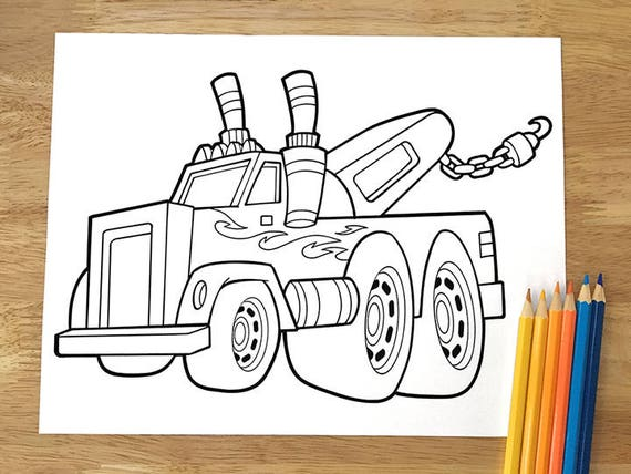 Big Tow Truck Coloring Page Downloadable Pdf File Etsy