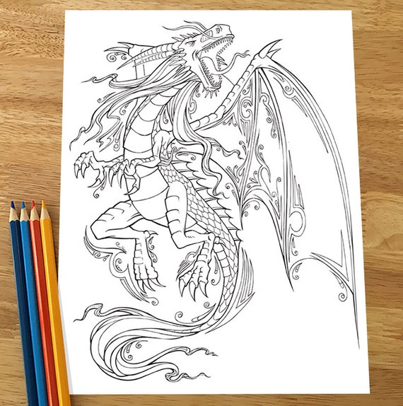 Dragon Coloring Page Downloadable Pdf File Etsy
