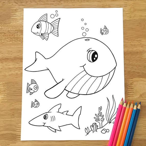 - Cute Happy Whale Coloring Page Downloadable PDF File Etsy