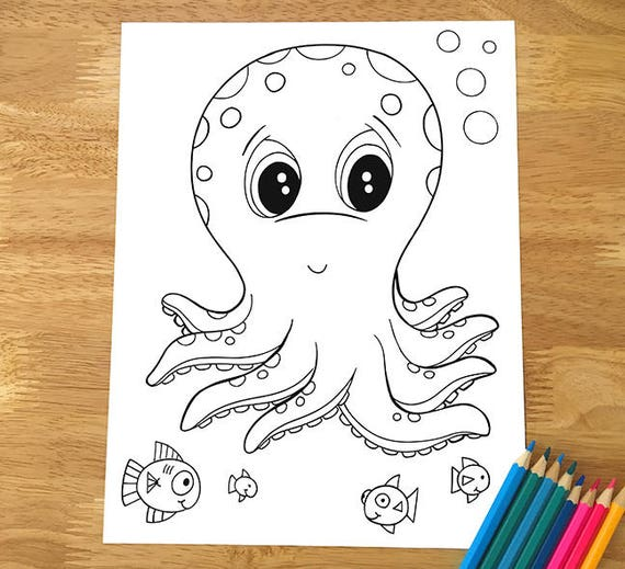 Cute Octopus Coloring Page Downloadable Pdf File Etsy